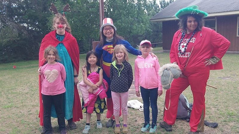 A costume party in one summer camp day